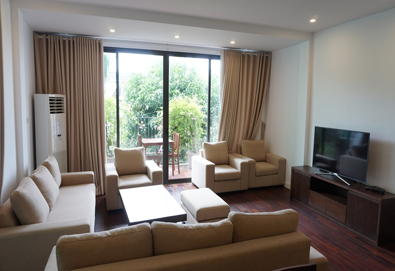 Balcony, serviced apartment for rent with 03 bedrooms in Dang Thai Mai, Tay Ho