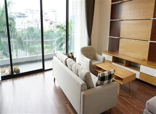 Lake view, big balcony serviced apartment for rent with 02 bedrooms in Truc Bach, Ba Dinh