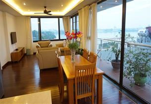 Big bancony, Lake view serviced apartment for rent with 03 bedroom in Dang Thai Mai,Tay Ho